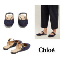 【Chloe】Lauren scallop-edged suede backless loafers2455