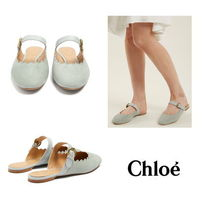 【Chloe】Lauren scallop-edged suede backless loafers
