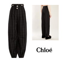 【Chloe】High-rise checked wool trousers