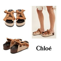 【Chloe】Harper lace-up patent-leather platform slides
