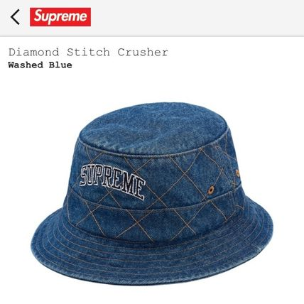 buyma supreme diam ond stitch crusher blue hats 38003663