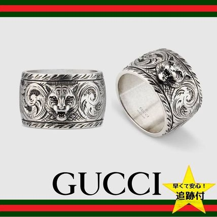 ★追跡有【GUCCI】Wide silver ring with feline head★