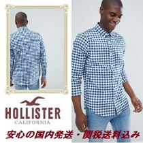 Hollister poplin gingham check shirt slim fit button down se