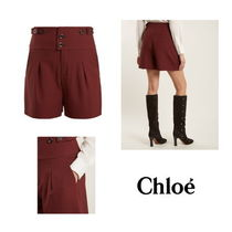 【Chloe】High-waist double-button shorts