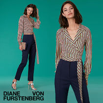 セール!DVF Long-Sleeve Deep-V Wrap Blouseお早めに