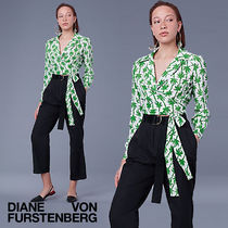 DVF Long-Sleeve Deep-V Wrap Blouse★シルクラップブラウス