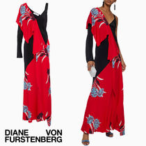 セール!DVF Ruffled printed silk-blend gown