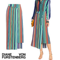 セール!DVF Wrap-effect striped crepe midi skirt 完売寸前!