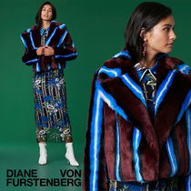 DVF 最新作フェイクファーLong Sleeve Collared Faux Fur Jacket