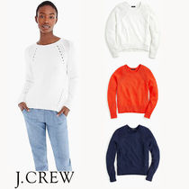 J CREW Cotton pullover sweater with pointelle stitching
