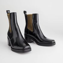 ★&Other Stories★Houndstooth Elastic Leather Boots★黒★