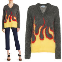 PR1431 FLAME INTARSIA BRUSHED MOHAIR SWEATER