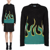 PR1432 FLAME INTARSIA BRUSHED MOHAIR SWEATER