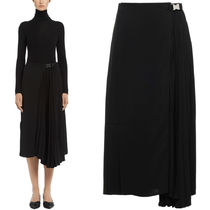 PR1447 TECHNICAL BROADCLOTH PLEATED SKIRT WITH BUCKLE BELT