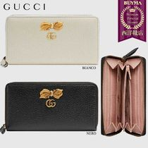 【正規品保証】GUCCI★18秋冬★LEATHER ZIP AROUND WALLET W/BOW