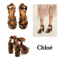 【Chloe】Graphic Leaves velvet sandals