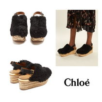 【Chloe】Camilla shearling wedge sandals