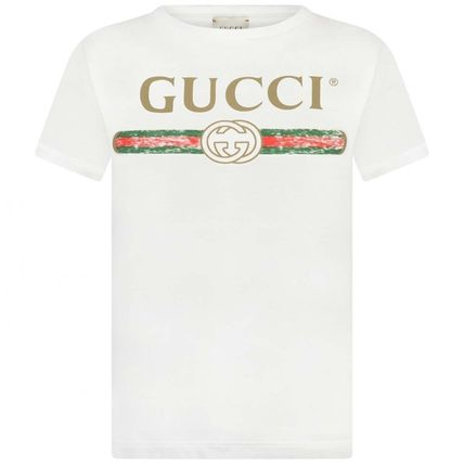 18AW 大人も着れるGUCCIロゴトップスwhite(-12y)