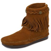 MINNETONKA フリンジブーツ HI TOP BACK ZIP BOOT ffhj292brown