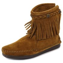 MINNETONKA フリンジブーツ HI TOP BACK ZIP BOOT ffhj293dbrown