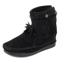MINNETONKA フリンジブーツ HI TOP BACK ZIP BOOT ffhj299black