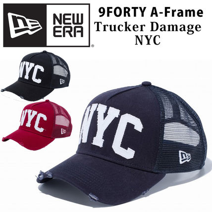 New Era キャップ 【即発】NEW ERA 9FORTY A-Frame NYC ダメージ キャップ DAMAGE