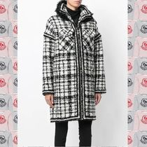 MONCLER GAMME ROUGE チェックアルパカウールファーダウンジャケ