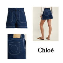 【Chloe】Contrast-stitch high-rise denim shorts