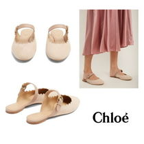 【Chloe】Lauren scallop-edged suede backless loafers2458