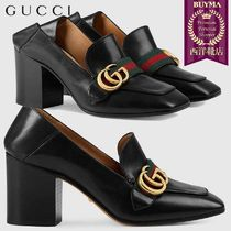 【正規品保証】GUCCI★18秋冬★LEATHER MID-HEEL LOAFER