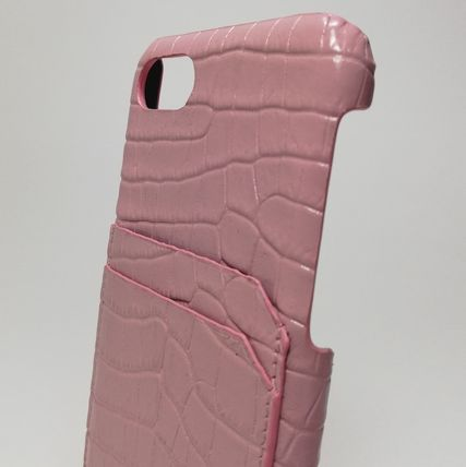 Saint Laurent スマホケース・テックアクセサリー IPHONE 8 CASE IN STAMPED CROCODILE SHINY LEATHER IN PINK(2)
