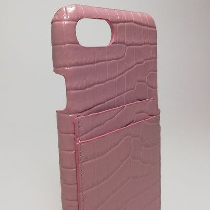 Saint Laurent スマホケース・テックアクセサリー IPHONE 8 CASE IN STAMPED CROCODILE SHINY LEATHER IN PINK(3)