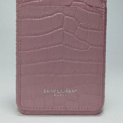 Saint Laurent スマホケース・テックアクセサリー IPHONE 8 CASE IN STAMPED CROCODILE SHINY LEATHER IN PINK(4)