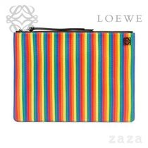 LOEWE★ロエベ Medium Rainbow Flat Pouch Multicolor/Black
