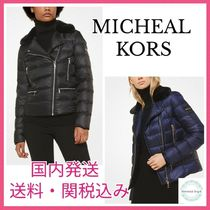 MK Satin and Faux Fur Puffer Jacket サテンファージャケット