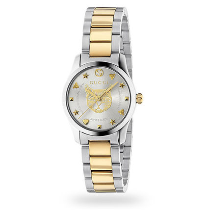 GUCCI アナログ腕時計 稀少 GUCCI(グッチ) 猫G,timeless Stainless Steel Ladies Watch
