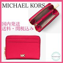 Michael Kors Mercer Small Pebbled Leather Wallet DEEP PINK