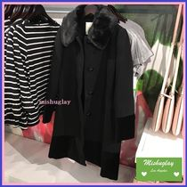 【kate spade】復刻★上品♪ faux fur collar velvet trim coat