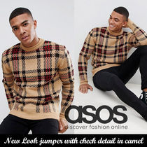 ASOSニット◆New Look jumper with check detail in camel