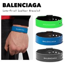 BALENCIAGA レザー ブレスレット Logo-Print Leather Bracelet