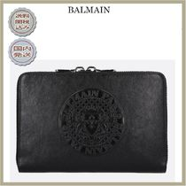 2018-19AW BALMAIN embossed logo leather tablet holder