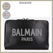 2018-19AW BALMAIN logo print leather tablet holder