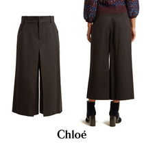 【Chloe】High-rise wide-leg wool-blend cropped trousers