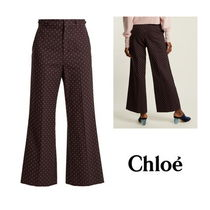 【Chloe】Embroidered-dot cotton trousers