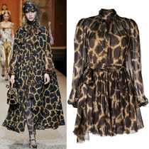 18-19AW DG1749 LOOK96 GIRAFFE PRINT SILK DRESS