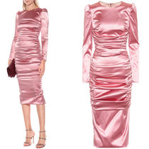 18-19AW DG1750 STRETCH SATIN RUCHED DRESS