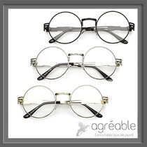 国内発送★zeroUV★Retro Dapper Round Metal Clear Lens C300
