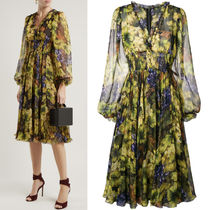18-19AW DG1755 GRAPE PRINT SILK CHIFFON DRESS