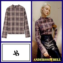 ANDERSSON BELL(アンダースンベル) Tシャツ・カットソー ANDERSSON BELL VALLY CHECK LONG-SLEEVE HALF NECK BLOUSE
