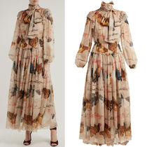 18-19AW DG1759 GALLINE PRINT SILK CHIFFON DRESS WITH BOW